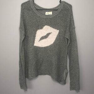 Hollister Co Pink Lips Oversized Gray Sweater